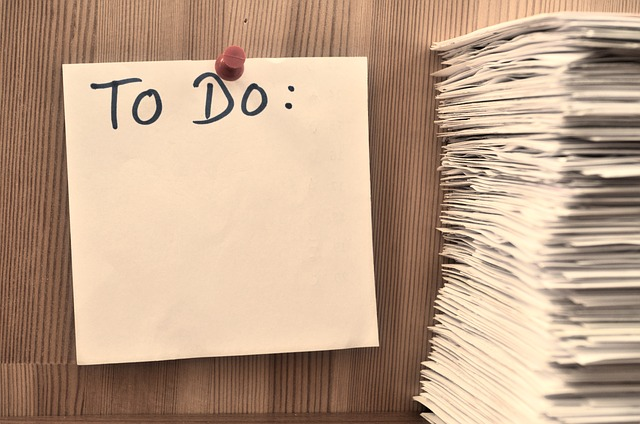 To-do list on pinned to the wall.